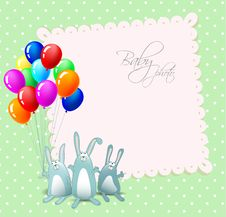 Vector Happy Birthday Card With Rabbits Stock Photography