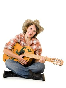 Free Cowboy Woman With A Guitar. Stock Photos - 20815293