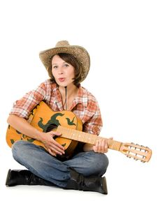 Free Cowboy Woman With A Guitar. Royalty Free Stock Photography - 20815317