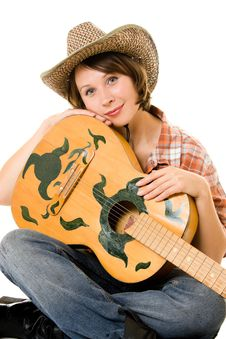 Free Cowboy Woman With A Guitar. Royalty Free Stock Image - 20815366