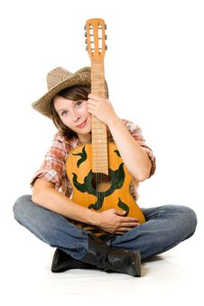 Free Cowboy Woman With A Guitar. Stock Image - 20815381