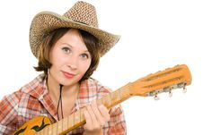 Free Cowboy Woman With A Guitar. Stock Photography - 20815492