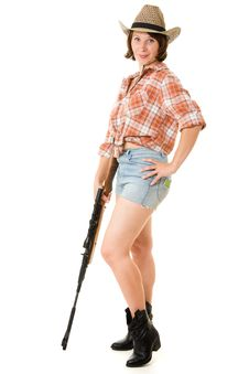 Free Cowboy Woman With A Gun. Stock Images - 20815724