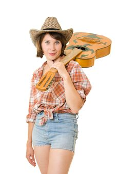 Free Cowboy Woman With A Guitar. Royalty Free Stock Images - 20815979