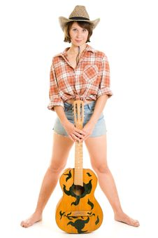 Free Cowboy Woman With A Guitar. Stock Photos - 20815993