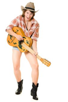 Free Cowboy Woman With A Guitar. Stock Photography - 20816022