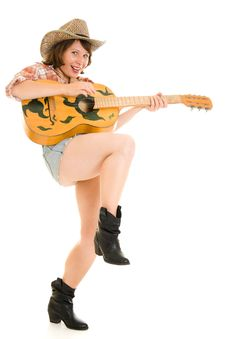 Free Cowboy Woman With A Guitar. Royalty Free Stock Photos - 20816078
