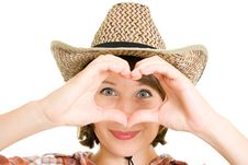 Free Cowboy Woman  Doing A Heart With Her Hands. Stock Photography - 20816102