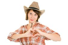 Free Cowboy Woman  Doing A Heart With Her Hands. Stock Photos - 20816113