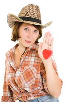 Free Beautiful Cowboy Woman Holding A Red Heart Stock Image - 20816161