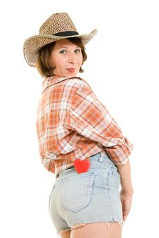 Free Cowboy Woman With A Heart In Your Pocket. Stock Photography - 20816202