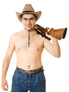 Free Cowboy Man With A Gun In His Hand. Royalty Free Stock Image - 20816236