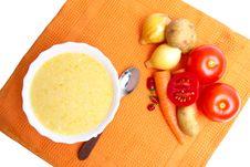 Free Soup Pureed Vegetables On Orange Napkin Stock Image - 20816571