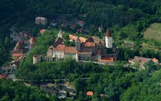 Krivoklat Castle From Airplane Royalty Free Stock Photo
