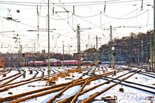 Free Rails In Winter At The Station Royalty Free Stock Photos - 20817558