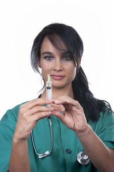 Free Beautiful Nurse With Syringe Royalty Free Stock Photography - 20818787