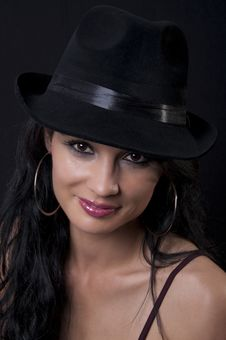 Free Beautiful Brunette With Black Hat Stock Photo - 20818860