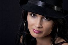 Free Beautiful Brunette With Black Hat Stock Photography - 20818872