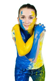 Young Beautiful Painted Woman Stock Photography