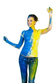 Young Beautiful Painted Woman Stock Photo