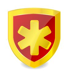 Free Gold Medical Symbol In Emblem Royalty Free Stock Photography - 20819017