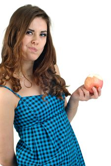 Young Beautiful Woman With Fruit In Studio Royalty Free Stock Photography