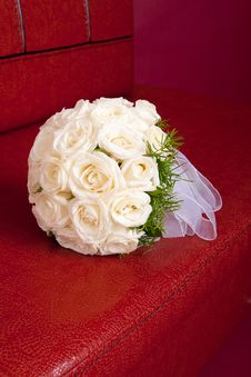 Wedding Bridal Bouquet Of White Roses Royalty Free Stock Images