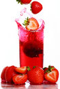 Free Strawberry Falling Into The Glass Royalty Free Stock Photography - 20826327