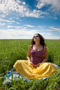 Free Pregnant Woman On Green Grass Field Under Blue Sky Royalty Free Stock Photography - 20827317