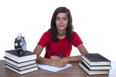 Free Teenage Girl Studying On Her Desk Royalty Free Stock Photos - 20820108