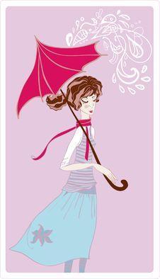 Free Girl In Rain Royalty Free Stock Image - 20820146