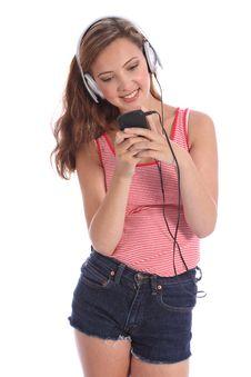 Happy Beautiful Teenage Girl Music On Headphones Stock Image