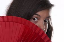 Free Brunette Teen Girl With Fan Stock Photo - 20820290