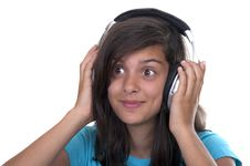 Free Teenage Girl Listening Music With Headphones Royalty Free Stock Images - 20820319