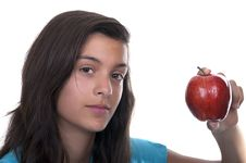 Free Teenage Girl With Red Apple Stock Image - 20820361