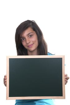 Free Teenage Girl With Blackboard Royalty Free Stock Photos - 20820418