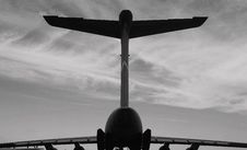 Free Silhouette Of Airplane, Back View Stock Photography - 20820562