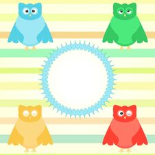 Cute Cartoon Owl Set On Colorful Background Stock Photos
