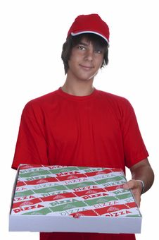 Free Pizza Delivery Boy Royalty Free Stock Photos - 20821218