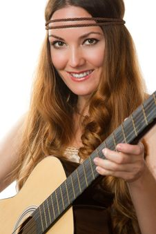 Free Smiling Girl With A Guitar Royalty Free Stock Image - 20823336
