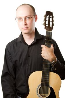 Free Man With Glasses And A Guitar On White Background Royalty Free Stock Photo - 20823595