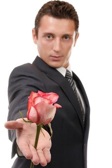 Young Businessman Hold Rose Stock Photos