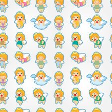 Free Seamless Angel Pattern Royalty Free Stock Photo - 20824095