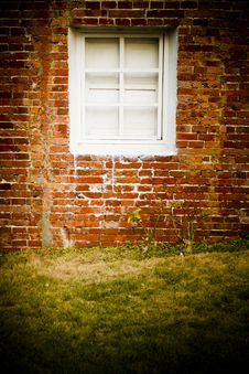 Brick Wall With White Window Royalty Free Stock Photos