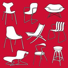 Free Retro Chairs   Furniture On Red Royalty Free Stock Image - 20825046