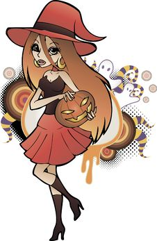 Free Halloween Witch Red Royalty Free Stock Image - 20825676