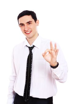 Free Smiling Businessman Showing OK Sign Stock Photo - 20826130