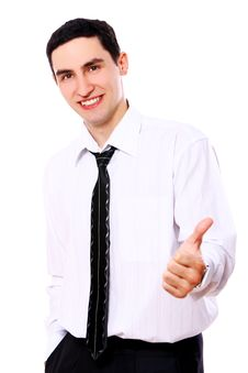 Free Smiling Businessman Showing OK Sign Royalty Free Stock Photos - 20826138