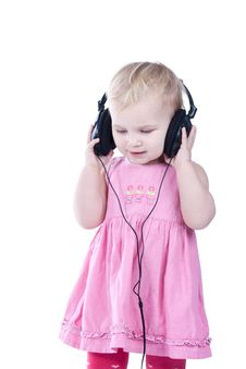 Baby With Headphones Royalty Free Stock Photo