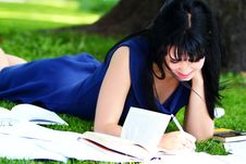 Free Beautiful Girl Studying In Park Stock Photo - 20826260